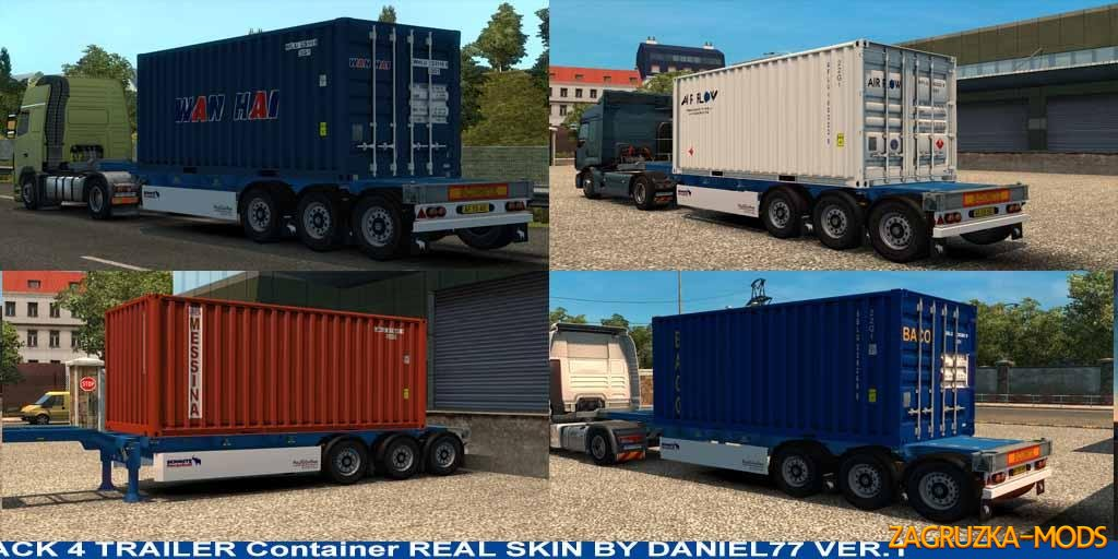 4 TRAILER CONTAINER 20 FT SKINS REAL V1
