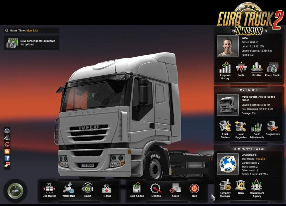 Save Game Level 13 + Going East v1.0 by EXAL for ETS 2