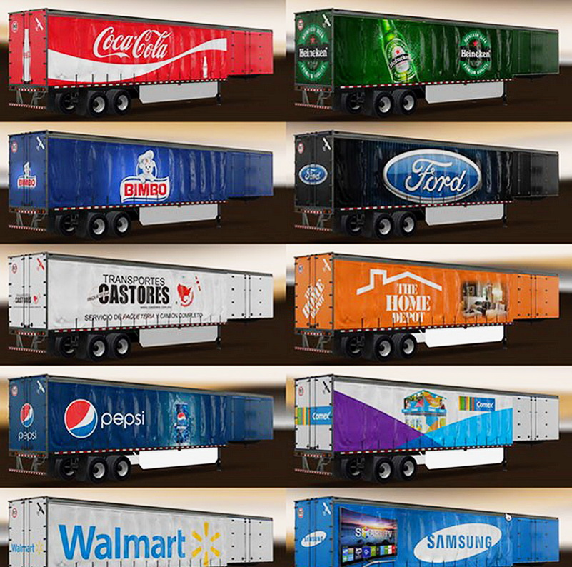 Mexican & American Companies Trailers Skin Pack v1.0 for ATS