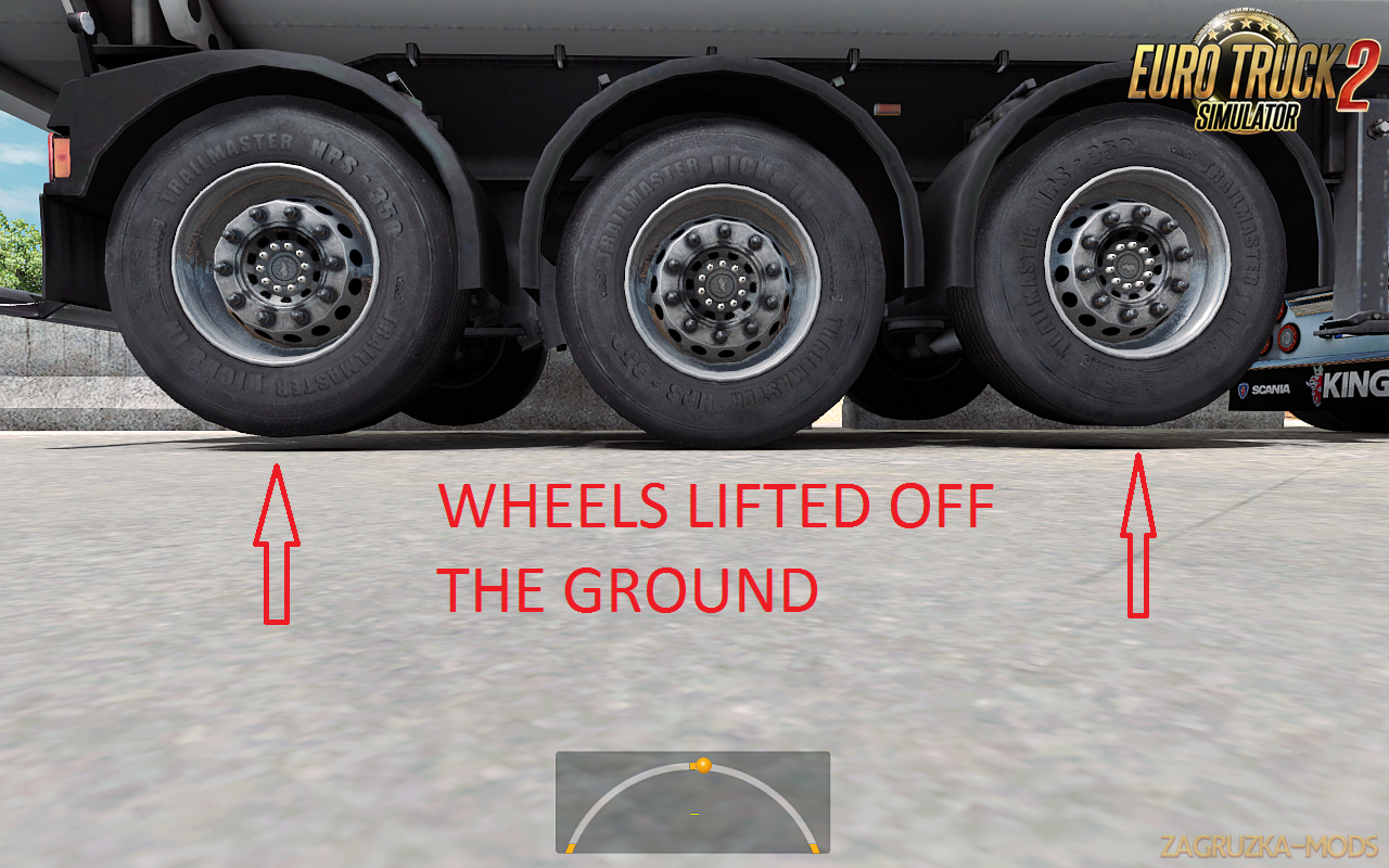 2 lifted axles Trailer for Ets2
