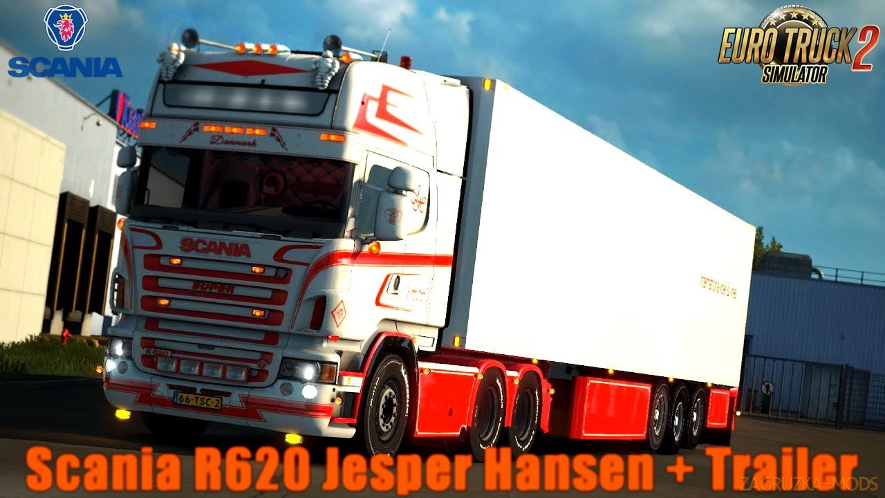 Scania R620 Jesper Hansen + Trailer v1.0 by PlatinumDesignTruck (1.30.x) for ETS 2