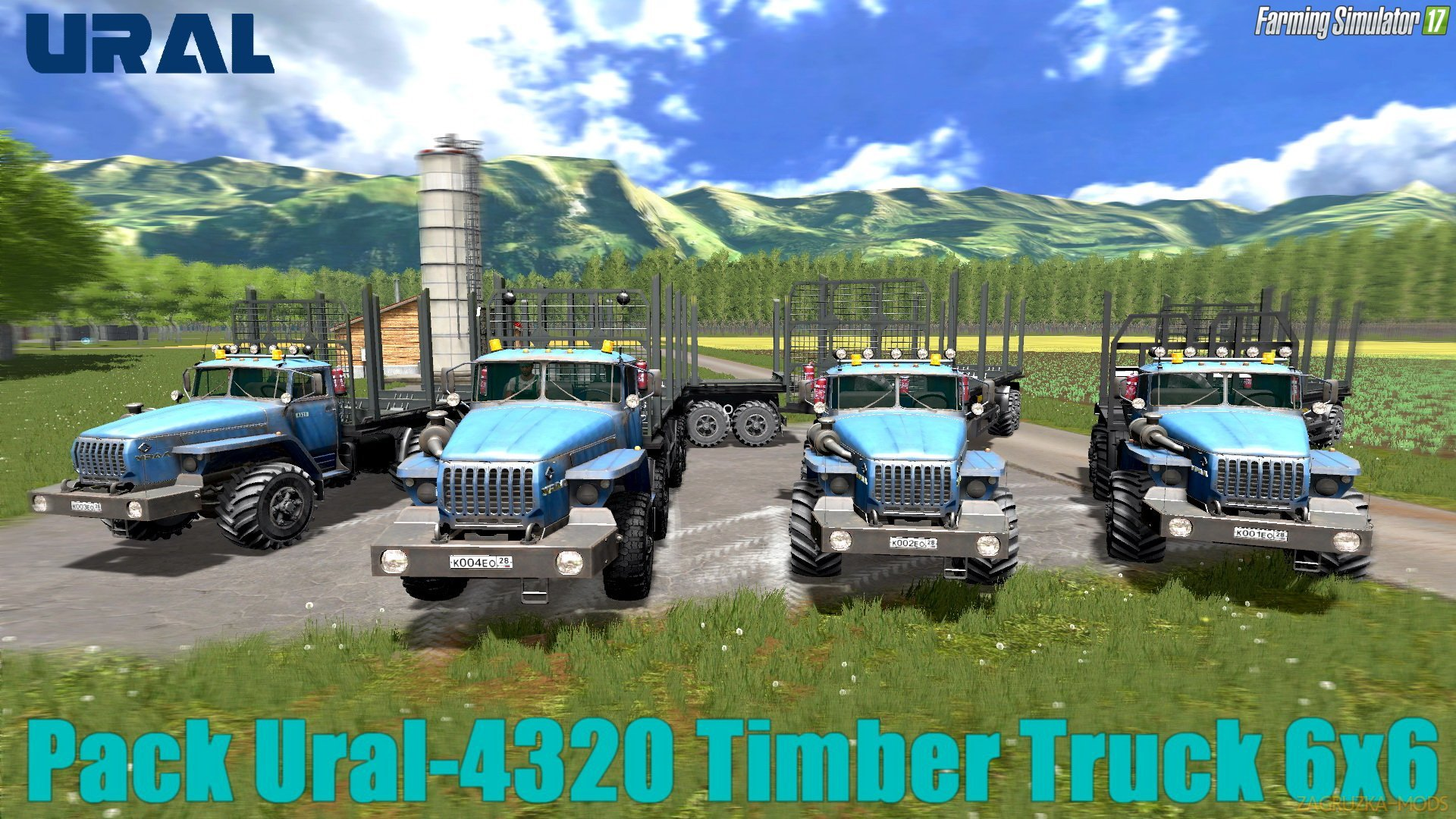 Pack Ural-4320 Timber Truck 6x6 + Trailers v1.2 for FS 17