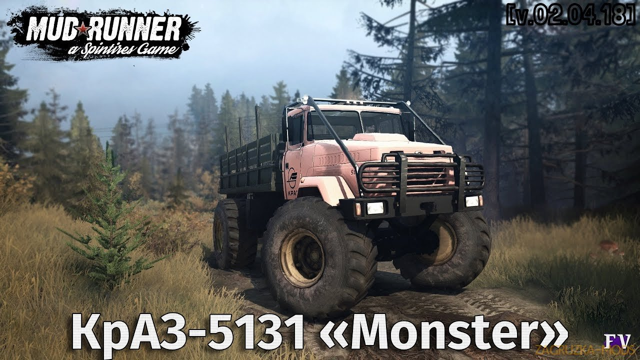 KrAZ-5131 Monster Truck v1.0 (v29.01.18) for Spin Tires: MudRunner