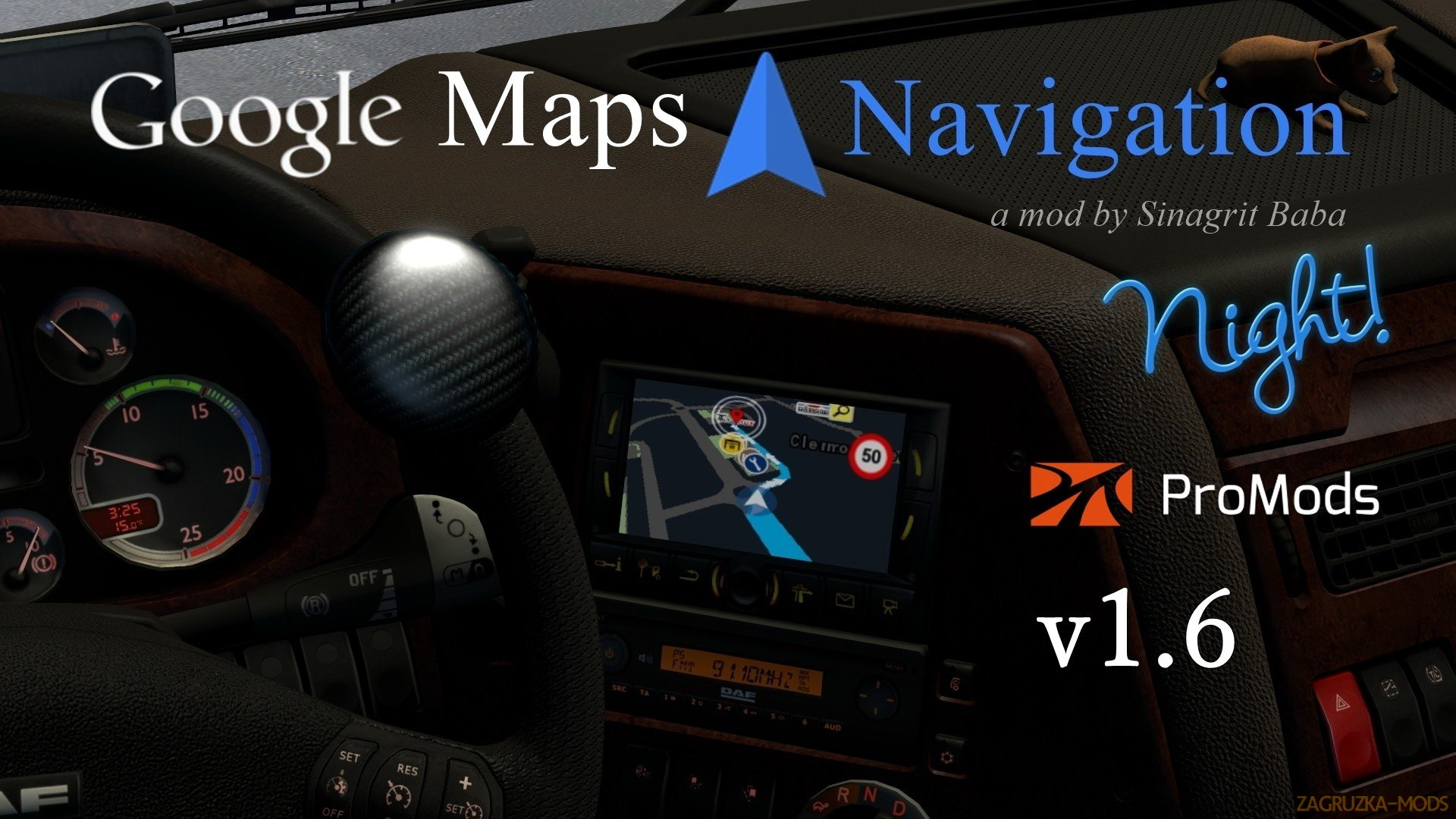 Google Maps Navigation Night Version for ProMods v1.6