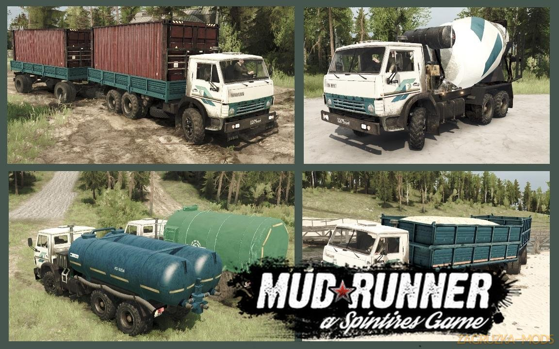 Pack trucks KamAZ 6х4 v1.2 (v18.10.18) for SpinTires: MudRunner