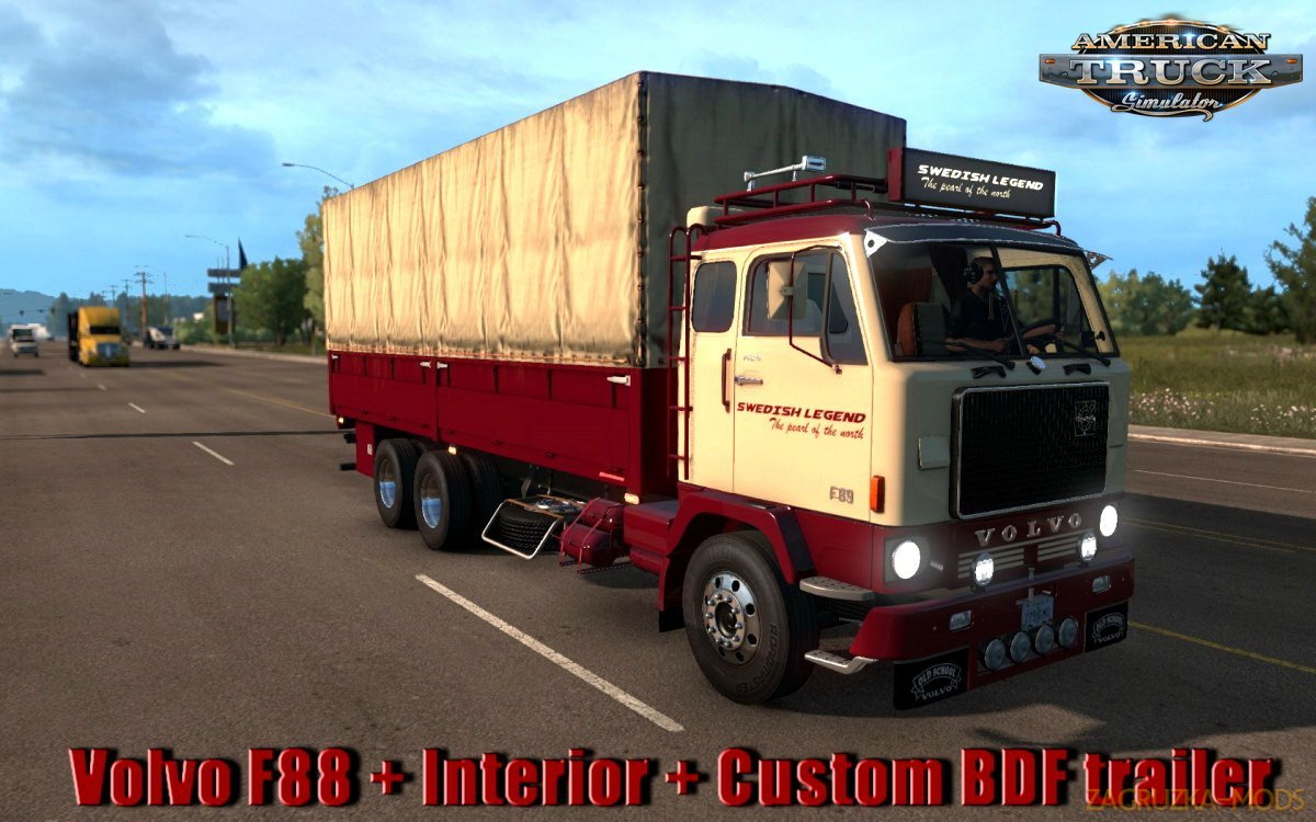 Volvo F88 + Interior + Custom BDF trailer v1.0 by XBS (1.33.x) for ATS
