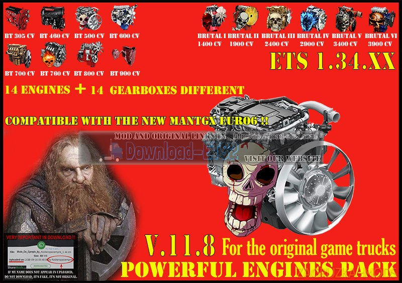 Pack Powerful engines + gearboxes v11.8 (1.34.x) for ETS2