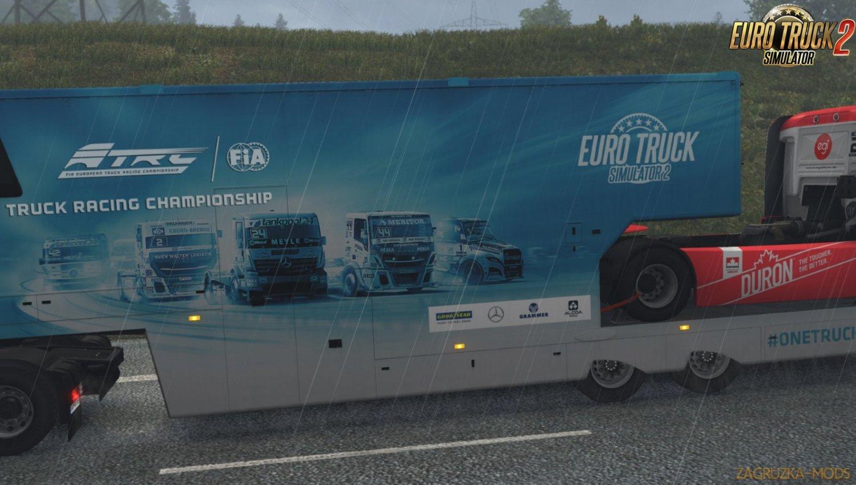 SCS ETRC truck racing trailers in AI traffic