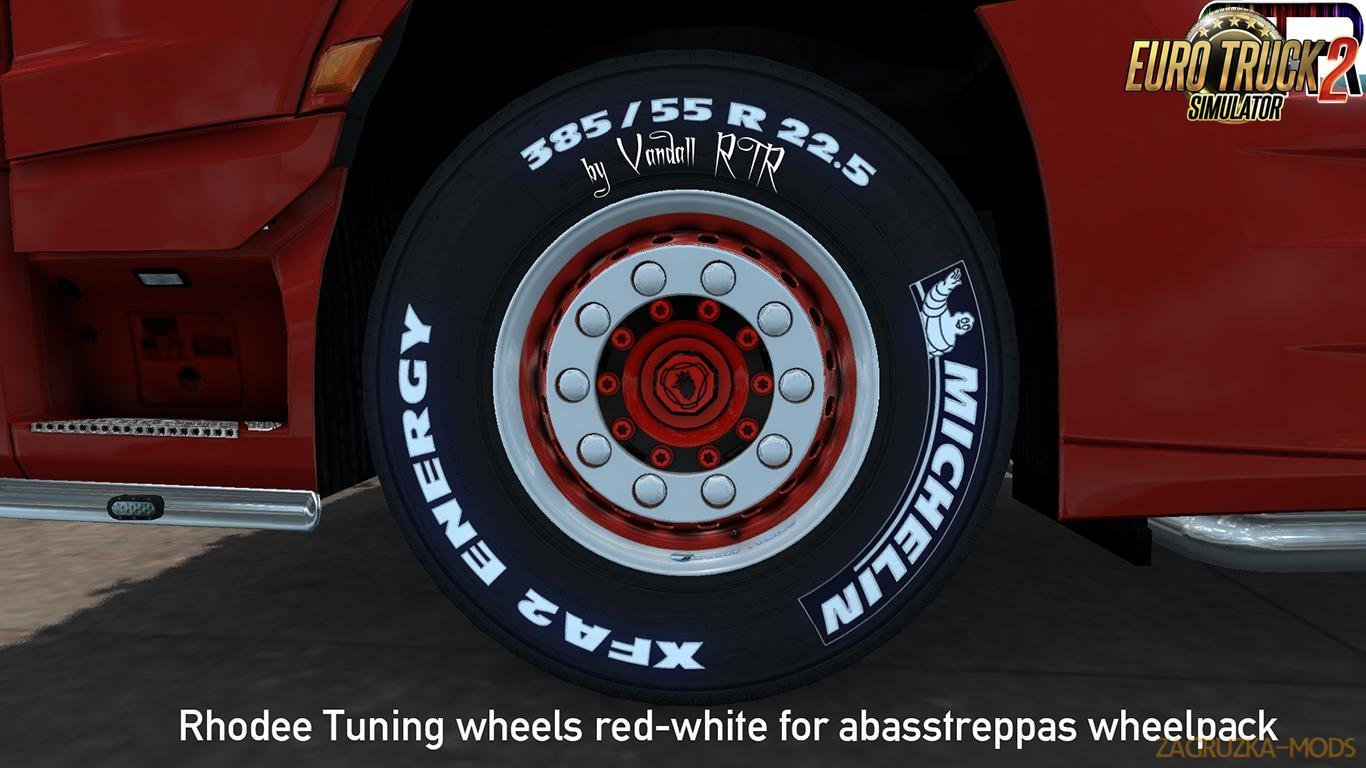 Rhodee Tuning Red White Skin for abbastreppas Wheel Pack in Ets2