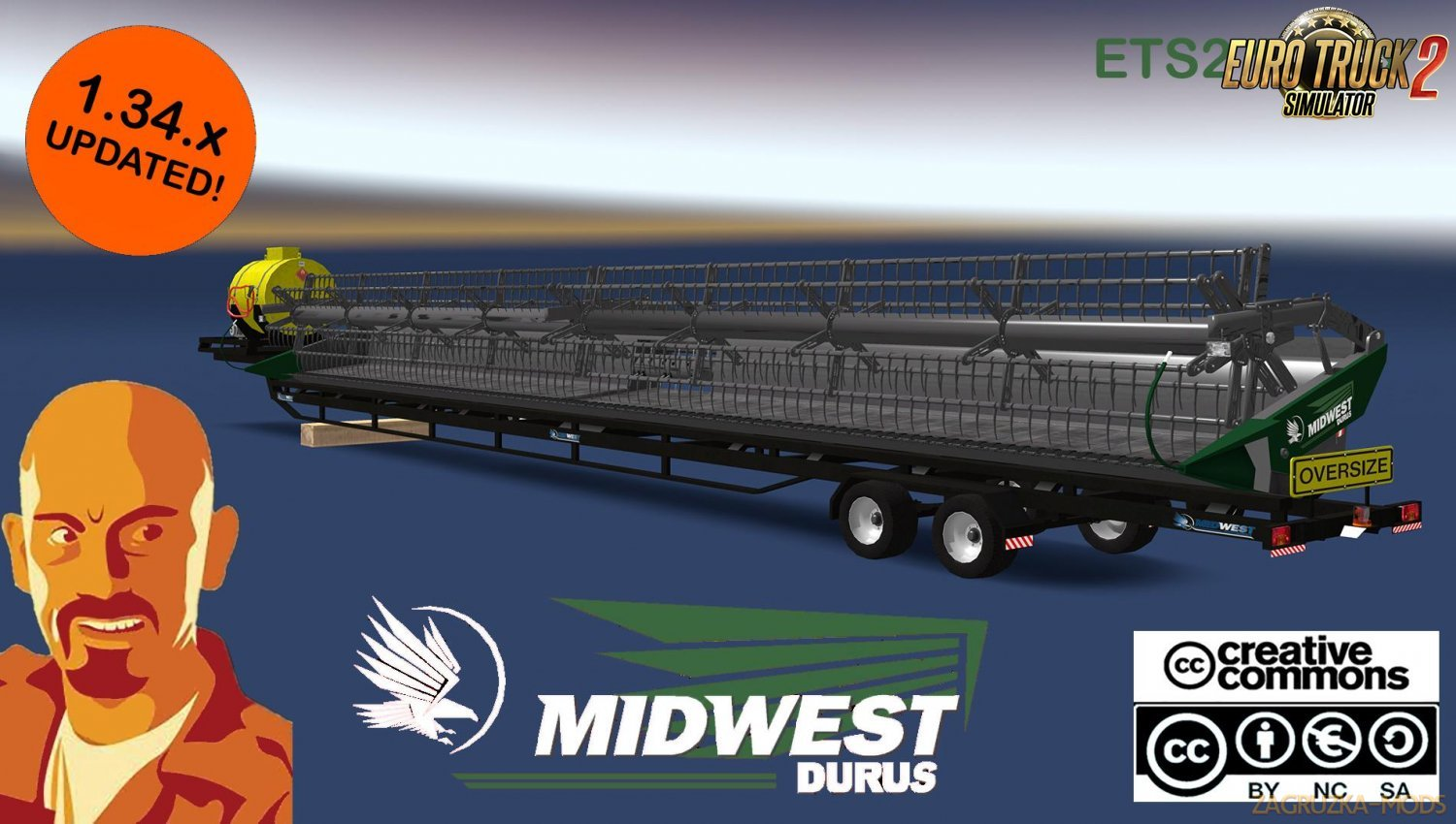 Midwest Durus Combines Headers Trailers for Ets2