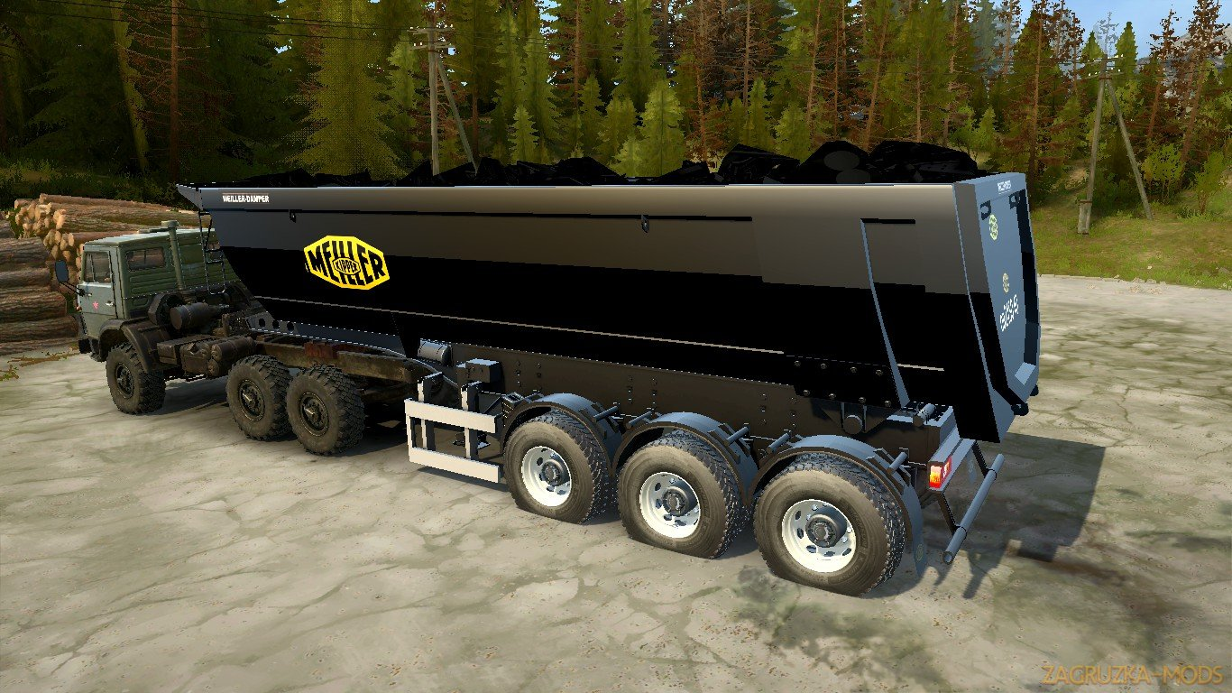 Meiller Semi-Trailer Dump Truck v1.0 for Spin Tires: MudRunner