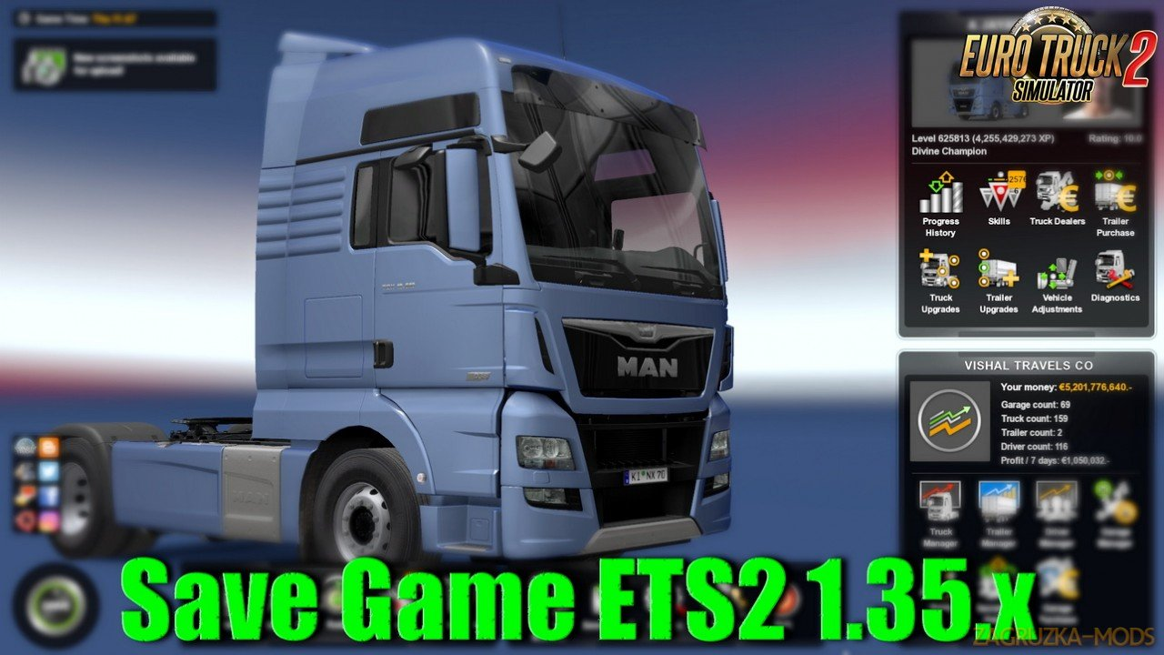 Save Game ETS2 1.35.x (No DLC need) v1.0 (1.35.x) for ETS2