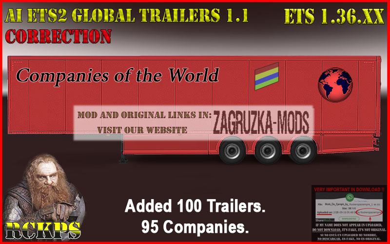 AI ETS2 Global Trailers Rckps 1.1 Corrección para 1.36.XX