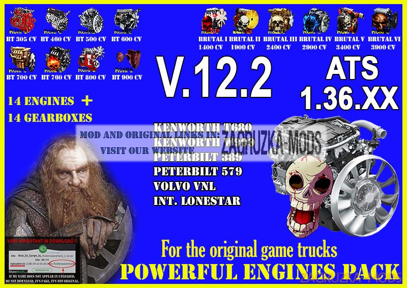 Pack Powerful engines + gearboxes V.12.2 for ATS 1.36.XX