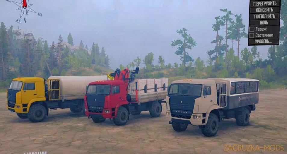 Pack KamAZ Trucks BadCat v1.0 for Spintires MudRunner