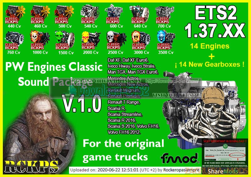 PW Engines Classic Sounds Pack v1.0 by RCKPS for ETS2